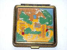 Beautiful Vintage Hand Painted Enamel on Brass Scene Compact