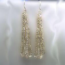 Vintage-Bead Crochet Earrings Silver Lined Crystal
