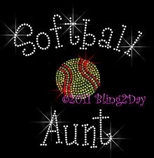 Softball Aunt - C Rhinestone Iron on Transfer Hot Fix Bling Sports School