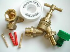 Outside Tap Kit, with Garden Hose Pipe Fitting and Brass Wall / Back Plate