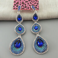 Betsey Johnson Blue Crystal Rhinestone Teadrop Dangle Drop Earrings