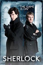 "Sherlock poster - Door 221b ""THE GAME IS ON"" - SHERLOCK BBC TV series poster"