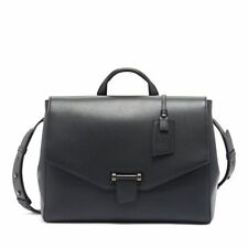 TUMI Men Maren Kai Leather Satchel Carry Case Briefcase Black w/ Straps NEW $995