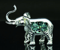 SWAROVSKI TURQUOISE CRYSTAL STUDDED ELEPHANT FIGURINE ORNAMENT SILVER PLATED