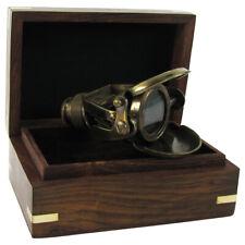 Solid Brass Traveling Telescope Binoculars Monocular Set w/ Wood Box Antique Rep