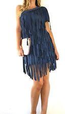 Odi Et Amo Dress Fringed Faux Suede One Shoulder Blue Bodycon Size Medium