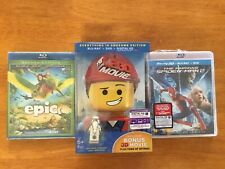 LEGO Movie, Epic, And Amazing Spider-Man 2 Lot Blu-ray/DVD, 2014, 3-Disc Set 3D)
