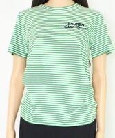Lauren By Ralph Lauren Women's Top Green Size XL Knit Striped T-Shirt $59 #383