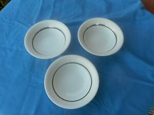 3 VINTAGE WEDGWOOD SUSIE COOPER ART DECO CHARISMA BOWLS WITH NAVY AND PLATINUM