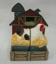 Farm Barn Coop Chicken on Nest 3 Piece Salt and Pepper Shaker Set