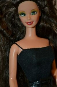 Barbie Collector Nude Doll For OOAK Olive Green Eyes Big Black Wavy Hair