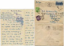 GB POSTAGE DUES 3d + 1/2d 1948 from FRANCE + LETTER to MCNAMARA REDIRECTED GLOS