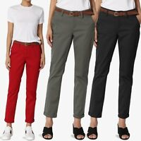 TheMogan Stretch Cotton Twill Cuffed Ankle Skinny Chino Pants Casual Trousers