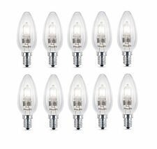 SET OF 10 x PHILIPS 28w E14 Small Screw Halogen Candle Dimmable Light Bulbs