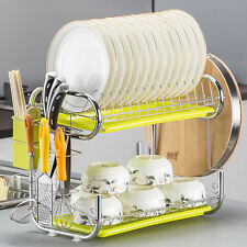 C-Sharped 2-Tier Dish Drying Rack Heavy Duty Rust-resistant chromed with Tray