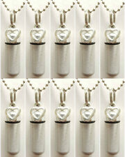 Beautiful Set of 10 Brushed Silver OPEN HEART CREMATION URN NECKLACES w/Pouches