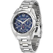 R3253581002 Para Caballero 43 mm Plata Acero SECTOR Pulsera Reloj con Cronógrafo Y Estuche
