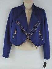 NEW Thalia Sodi Women's XS Tijuana Cropped Mod Jacket, Tartan Blue (X Small)