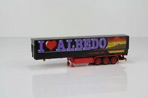 """Albedo Planenauflieger schwarz/rot mit Palettenkasen """"I Love Albedo"""" /AL93-5"""