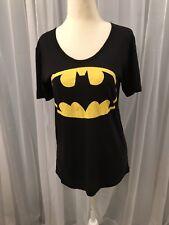 """Batman Logo"" Junior Black With Gray Cape on back Knit Top yellow logo Sz Small"