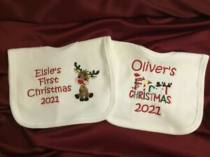 Personalised First Christmas 2021 Bib Baby Embroidered Gift Keep Sake Xmas 1st