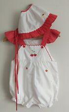 New listing Vtg 80s Baby 24 mo Sunsuit Romper Bonnet Set White Red Polka Dot Strawberries