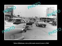 OLD LARGE HISTORIC PHOTO OF YUKON OKLAHOMA, THE MAIN STREET & STORES c1960