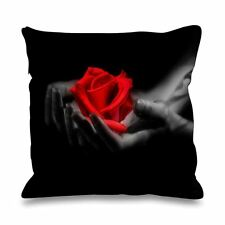 Red Rose in Hands Faux Silk 45cm x 45cm Sofa Cushion - Floral Flower Roses