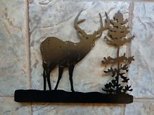 New Deer Buck Tree Mailbox Topper Plasma Cut Metal Art Black Hammered Finish
