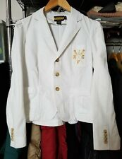 Ralph Lauren Rugby Women's Peplum Blazer Jacket White Size 6 Embroidered
