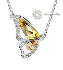 Yellow Crystal Butterfly/Pendant Necklace//RGN111