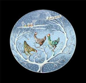 Vtg Haviland Limoges France 12 Days of Christmas THREE FRENCH HENS Plate 1972