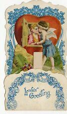 "Antique 1920's Foldout, Popup VALENTINE || ""Love's Greeting"""