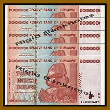 Zimbabwe 20 Trillion Dollars x 5 Pcs, 2008 AA = 100 Trillion Unc