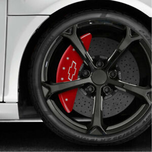 Caliper Covers Red Set of 4 Engraved 'Bowtie' Fits 2018-2019 Chevy Traverse