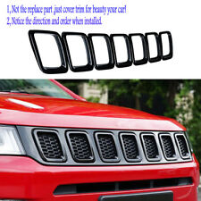 Black ABS Car Front Grille Grill Frame Trim Cover fit 2017 2018 New Jeep Compass