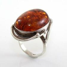Vintage Sterling Silver Large Baltic Amber Ring Size 7 LDB13