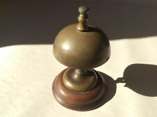 Antique 1870's Hotel Counter Top Service Brass & Wood Desk Call Bell