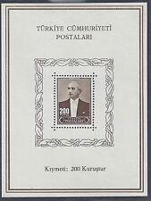 TURKEY 1943 PRESIDENT INONU SOUVENIR SHEET Sc 915a NEVER HINGED