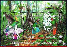 2338 BRAZIL 1991 PREVENTION FOREST, ORCHIDS, HUMMINGBIRDS, BRAPEX, MI# B86, MNH