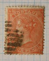 GB sc#34a plate 4 used POSTAGE stamp QV sg#82 cv$190.00 hair lines cancel
