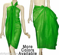 100% COTTON Fabric Beach Scarf Pareo Sarong Wrap Cover Up Plain Solid Colors SUK