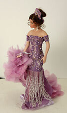 "20"" Lady Doll in Purple Evening Gown with Feather Boa"