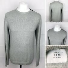 JACK & JONES Grey Jumper Size Medium Long Sleeve Mens Cotton Crew Neck Top