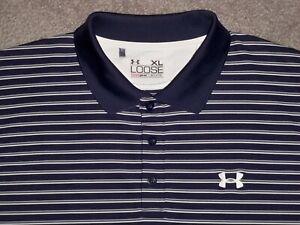 Men's UNDER ARMOUR HG Loose Polo XL NAVY BLUE w/Stripes w/UA Logo ~ Poly/Spandex