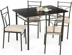 IKAYAA Table en mtal moderne et 4 chaises de cuisine pour meubles 4...
