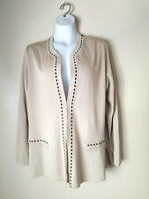 Exclusively Misook Cardigan Women's Acrylic Beige Black Trim Size XL