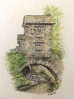 original watercolour painting Of Bridge House Ambleside The Lake District