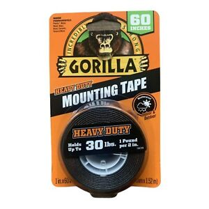 """Gorilla Heavy Duty MOUNTING TAPE Double-Sided Black Holds 30 lbs 1"""" x 60"""" L NEW!"""