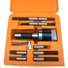 "HFS 9Pcs 2"" Boring Head R8 Shank 1/2"" Carbide Boring Bar Set Bridgeport Milling"
